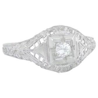 Art Deco .10ct Genuine Diamond 18K White Gold Solitaire Engagement Ring
