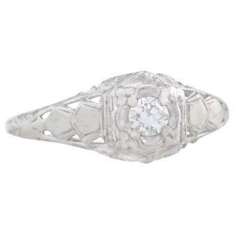 Estate .13ct Genuine Diamond 14K White Gold Art Deco Engagement Ring