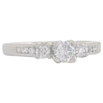 Designer Estate 14K White Gold .45ct Genuine Diamond Engagement Ring