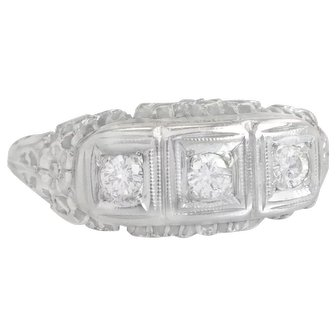 Estate .15ct Diamond 14K White Gold Three Stone Art Deco Engagement Ring