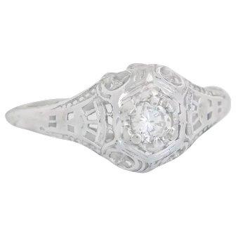 Vintage Estate 14K White Gold .18ct Genuine Diamond Art Deco Engagement Ring