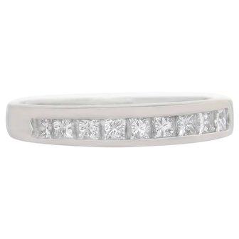 Designer Estate 14K White Gold .50ct Genuine Diamond Wedding Band Ring