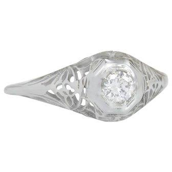 Estate .14ct Genuine Diamond 18K Gold Filigree Art Deco Engagement Ring