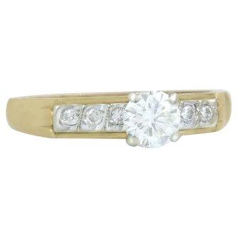 Estate 14K Two Tone Gold .41ct Genuine Diamond Art Deco Engagement Ring