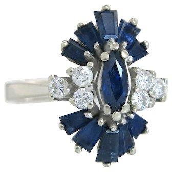 Vintage Estate 1.80ct Genuine Diamond & Sapphire 14k White Gold Dinner Ring