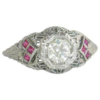 Vintage Estate 18 Karat White Gold .60ct K VS Genuine Diamond & Ruby Filigree Engagement Ring