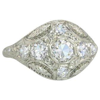 Vintage Estate 1.00ct Genuine Diamond 18K White Gold Flowers Engagement Ring