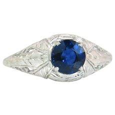 Vintage Estate Belais Estate .84ct Genuine Blue Sapphire 18 Karat White Gold Art Deco Ring 2.2g