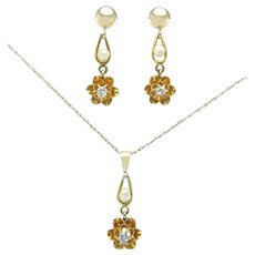 Antique Vintage Estate 14K Yellow Gold Genuine Diamond & Pearl Victorian Pendant Earrings Set 2g