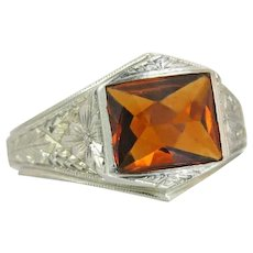 Vintage Estate 10K White Gold Flowers 3.00ct Orange Topaz Art Deco Ring