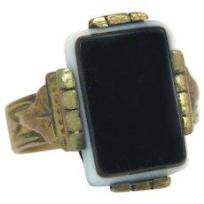 Antique 14K Yellow Gold Black & White Layered Sardonyx Art Deco Ring 3.5g