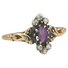 Vintage Estate 10K Yellow Gold .36ct Genuine Diamond & Amethyst Victorian Ring 1.5g