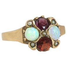 Antique Estate 14k Yellow Gold .80ct Ruby Garnet Opal & Pearl Art Deco Ring 1.9g