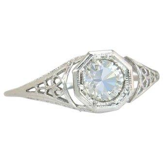 Vintage Estate 18 Karat Gold .60ct Genuine Diamond Engagement Ring 2.2g