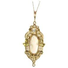 Antique Deco 10K Gold Lavaliere Genuine Diamond Pearl & Cameo Pendant