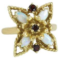 Vintage Estate 14k Yellow Gold Flower .75ct Opal & Garnet Dinner Ring 6.8g