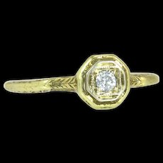 Vintage 14K Yellow Gold .07ct Genuine Diamond Art Deco Engagement Ring 1.9g