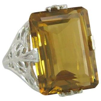J.R. Wood Estate 14K White Gold 11.00ct Citrine Art Deco Ring