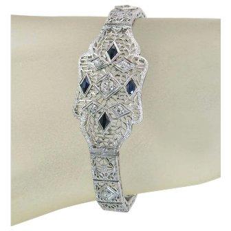 Vintage Estate 1.44ct Genuine Diamond & Blue Sapphire 14k Gold Art Deco Bracelet