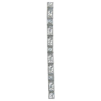 Estate .25ct Genuine Diamond 14k White Gold Filigree Art Deco Bracelet