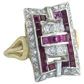 14K Two Tone Gold 2.40ct Genuine Diamond & Ruby Art Deco Dinner Ring