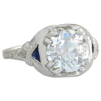 Antique 2.15ct GIA Old European Cut Diamond & Sapphire 20K Gold Engagement Ring