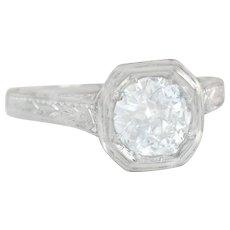 Certified GIA .74ct I VS2 Genuine Diamond Platinum Engagement Ring 2.5g
