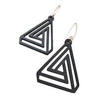Black Aspen Wood Triangle Earrings Sustainable