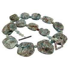 Blue Apatite Rough Nuggets Amazonite Necklace