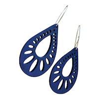 Blue Aspen Wood Teardrop Earrings Sustainable