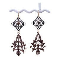 Natural Brass Filigree Lotus Earrings Gold-Filled