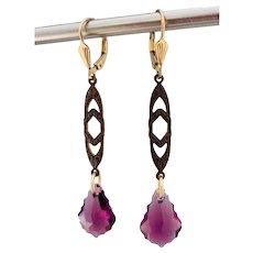 Natural Brass Purple Swarovski Crystal Earrings Gold-Filled