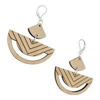 Chevron Wood Geometric Earrings Sterling Silver