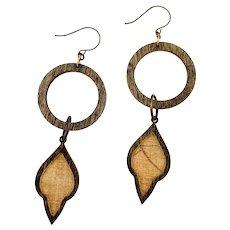 Long Wood Petal Shoulder Duster Earrings Copper Brass