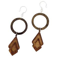 Long Wood Shoulder Duster Earrings Sterling Silver