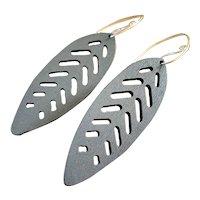 Gray Blue Aspen Wood Leaf Earrings Sustainable