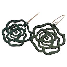 Forest Green Aspen Wood Rose Earrings Sustainable
