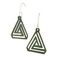 Green Aspen Wood Triangle Earrings Sustainable