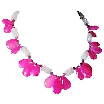 Hot Pink Chalcedony Briolettes with Rainbow Moonstone Necklace
