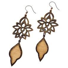 Long Wood Lotus Shoulder Duster Earrings Copper Brass