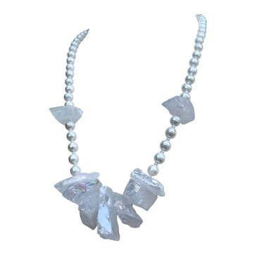 Titanium-coated Mystic Quartz Crystal Mother-of-Pearl Necklace
