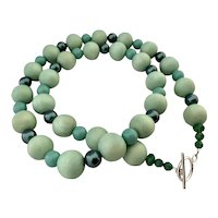 Mint Wood Swarovski-Crystal-Pearls (simulated) Long Necklace