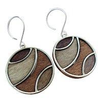 Mosaic Aspen Wood Geometric Circle Earrings