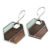 Mosaic Aspen Wood Geometric Hexagon Earrings