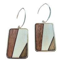 Mosaic Aspen Wood Geometric Rectangle Earrings