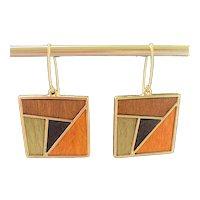 Mosaic Aspen Wood Geometric Square Earrings
