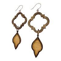 Long Wood Quatrefoil Shoulder Duster Earrings Copper Brass