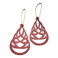 Earthy Red Aspen Wood Woven Teardrop Earrings Sustainable