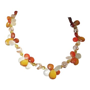 Shades of Orange and Yellow Chalcedony Faceted Briolettes Necklace