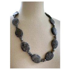 Silver Crazy Lace Agate Labradorite Necklace
